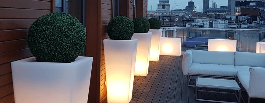 Donice podświetlane ogrodowe, świecące donice LED